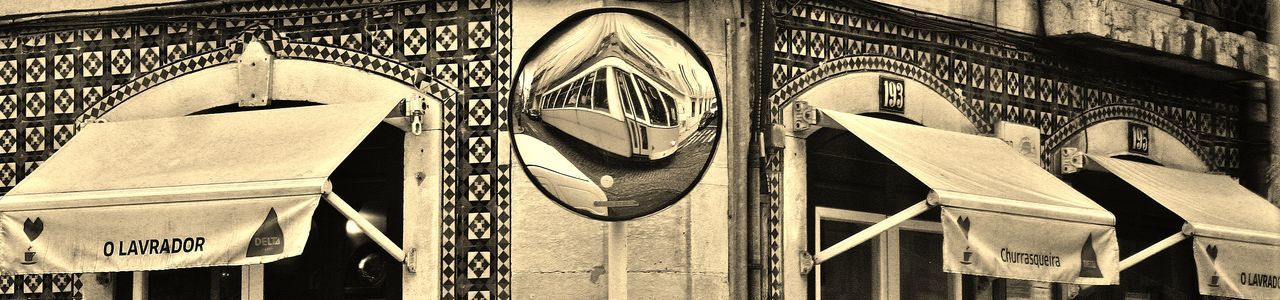 Lisbon Lisboa Portugal Streetphotography Mirror Reflection Black And White Distorted Reflection Tiled Wall Tiles Canopes Postbox Shape Tram Tram Reflection
