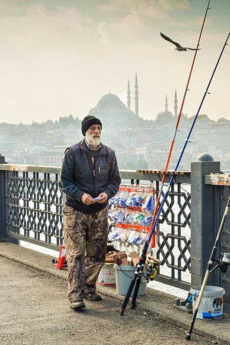 Adults Only Blue Mosque Bridge City Fisherman Fishing Front View Galata Galata Bridge Istanbul Istanbul Turkey Men Outdoors People Sky Standing Turkey