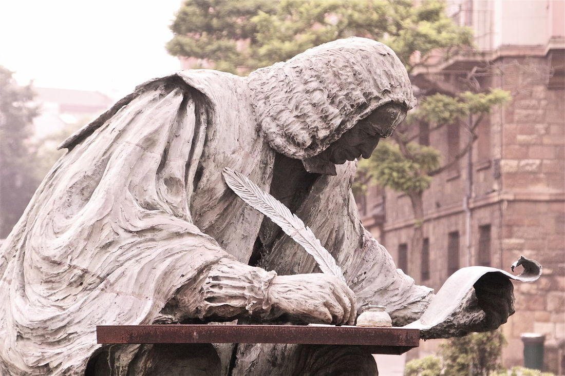Art Asturias Carving - Craft Product Craft Creativity Day Desk Focus On Foreground History Kvission Literature Monument Mónica Nogueira. No People Old Outdoors Sculpture SPAIN Statue The Past To Write Tranquility Travel Destinations Writer Writing