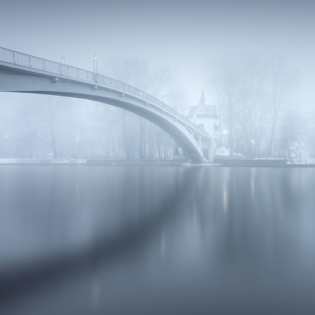 bridge over water Abbey Bridge Berlin Bridge Bridge - Man Made Structure City Day Fine Art Fog Foggy Weather Germany Long Exposure Misty Muted Colors No People Outdoors Philipp Dase Reflections In The Water Spree River Treptower Park Water