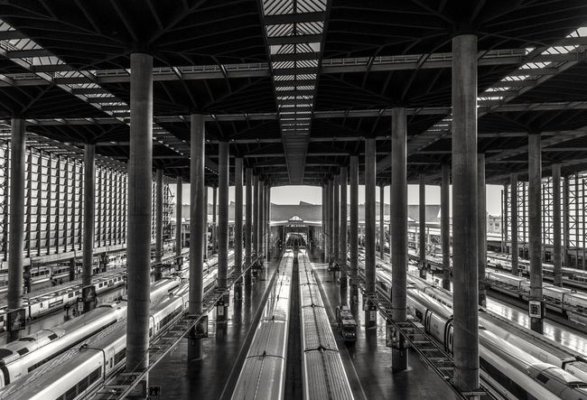 The Pillars of Atocha Architectural Column Atocha Built Structure Day Diminishing Perspective Engineering Madrid No People Railroad Track Sky Station The Way Forward Trains Transportation Vanishing Point