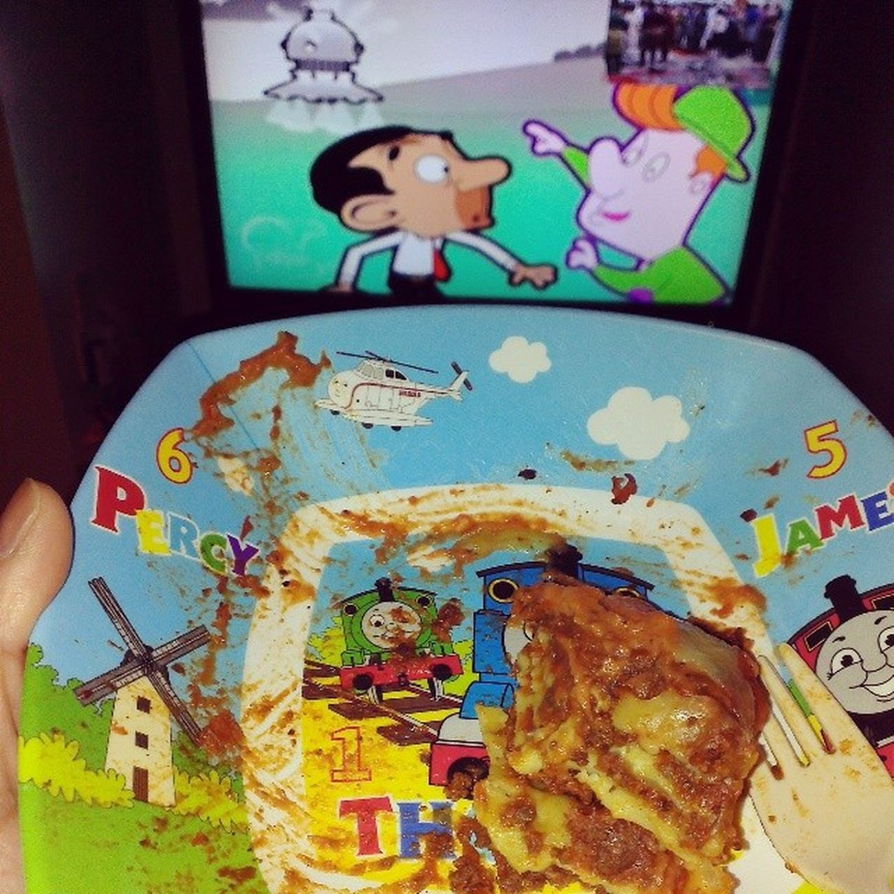 ....and sometimes I eat off my Sons Roaquin plate... XD WhatRUgonnaDo Dadslife IIFYM Eat your kids Lasagna Alwayshungry dinner thomasthetankengine MrBean