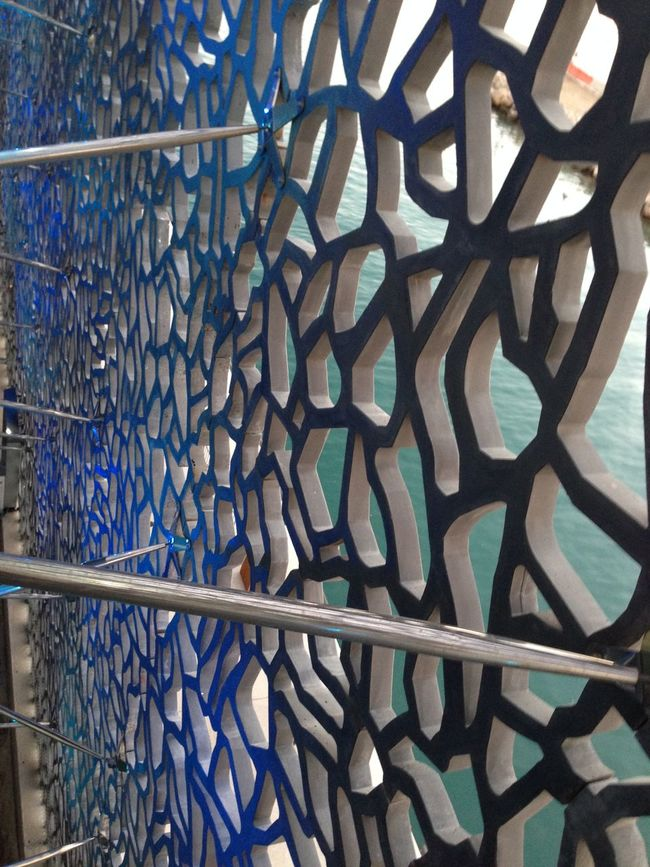 :: MUCEM And Fort St-Jean, Marseille :: Blue Design Geometry High Angle View Lace Marseille Sea Shadow Textured  Wall