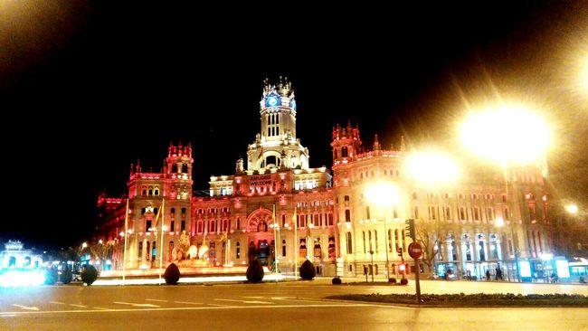 Madrid Cibeles Night Monument Colourful Night Lights Capital