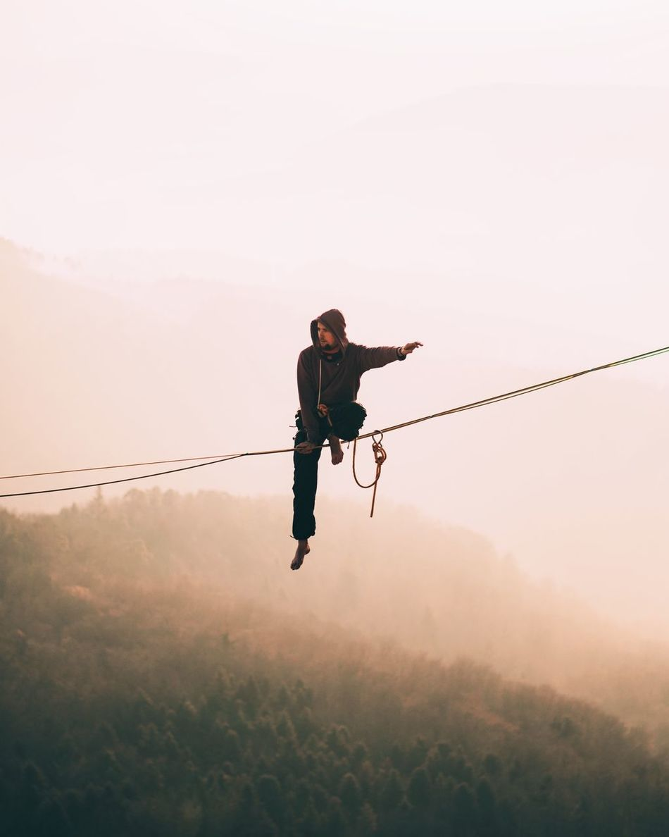 One Person Full Length Adventure Leisure Activity One Man Only Adults Only Extreme Sports Outdoors Sky Day Young Adult People Only Men Adult High Up Balance Switzerland Gempen Sunset Light Minimalism