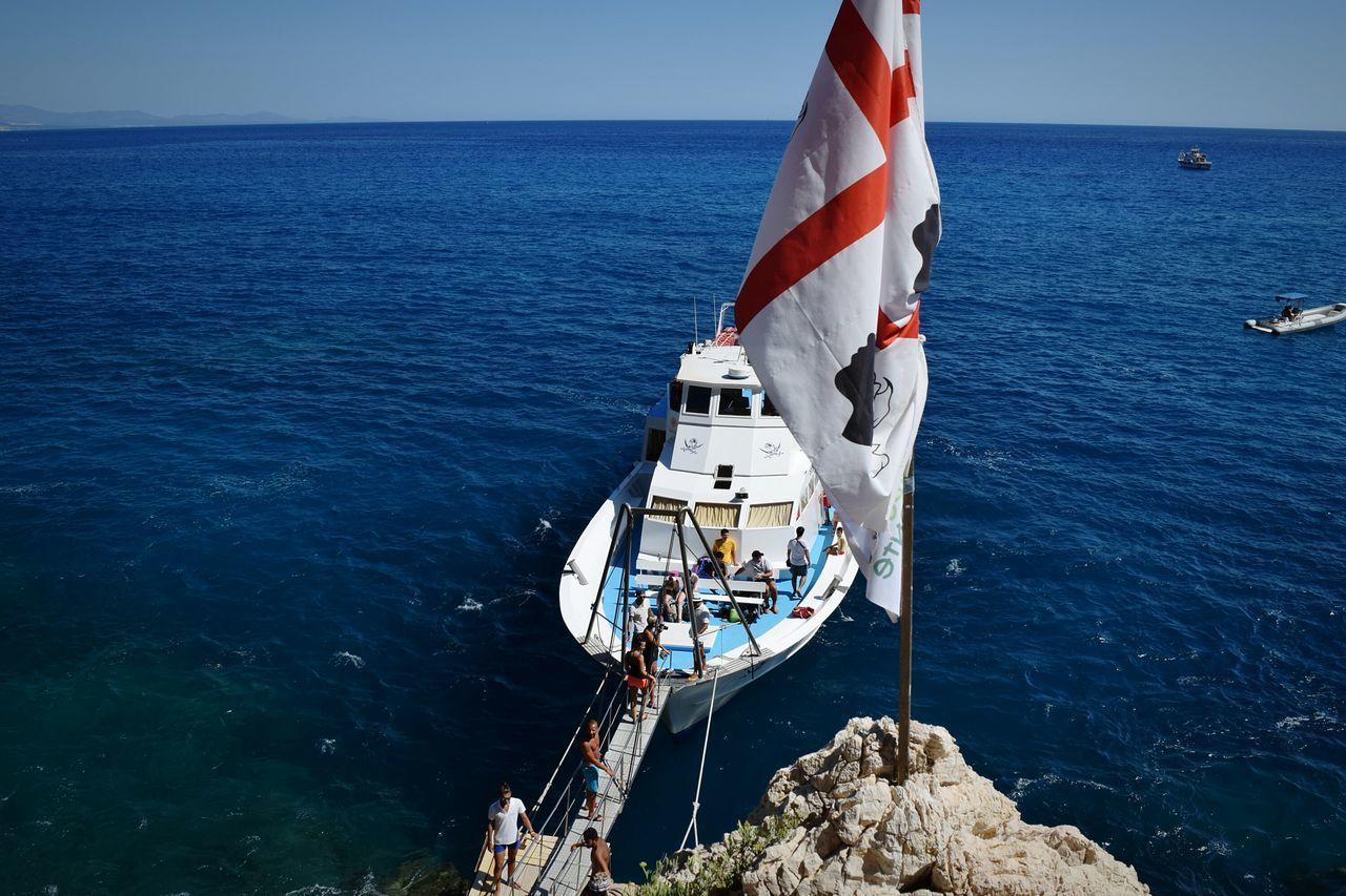 Nautical Vessel Sea Outdoors Mast Boat Deck Sky Day Sardinia,italy Sardinian Flag