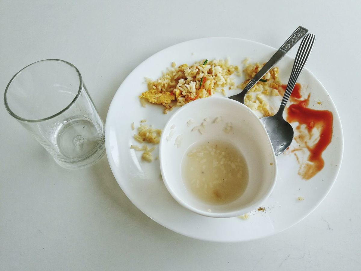 Breakfast Glass Dish Fried Rice Spoon Fork Soup Cup Chilli Sauce