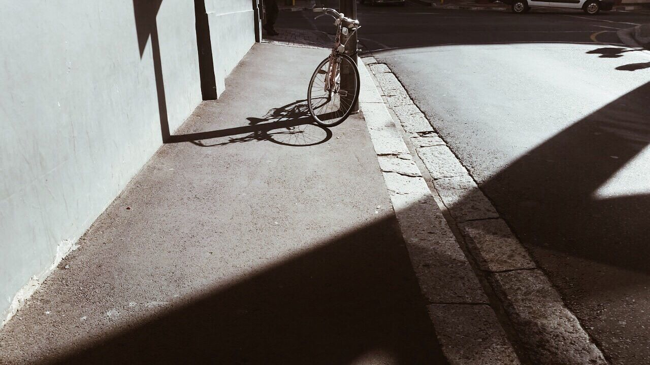 Bicycle Transportation Mode Of Transport Riding Sunlight Bicycle Rack Contrast