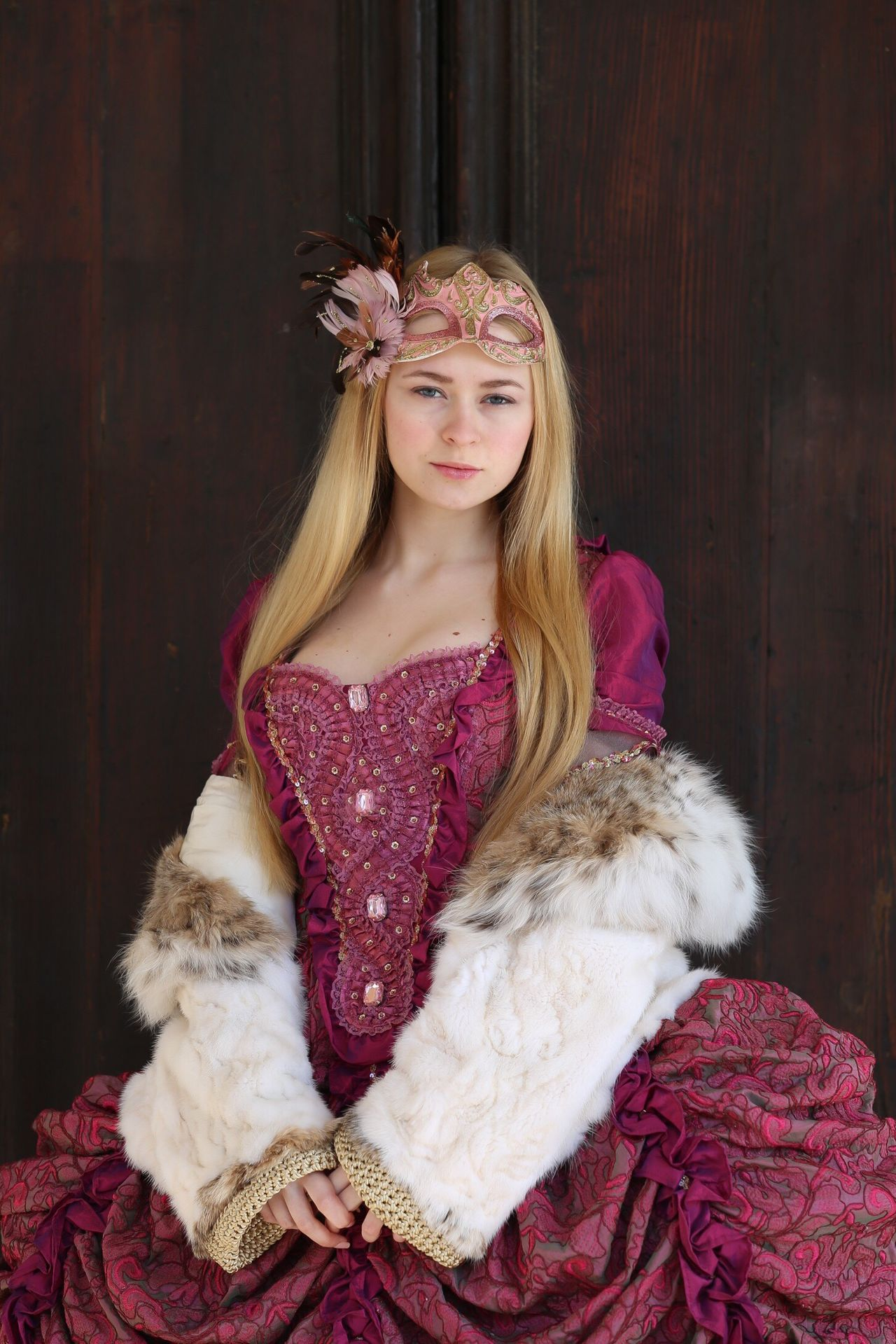 Mary My Daughter Girl Portrait Young Adult Beautiful Venice Traveling Holiday Carnival Dress Mask Looking At Camera Long Hair Blond Hair Colors