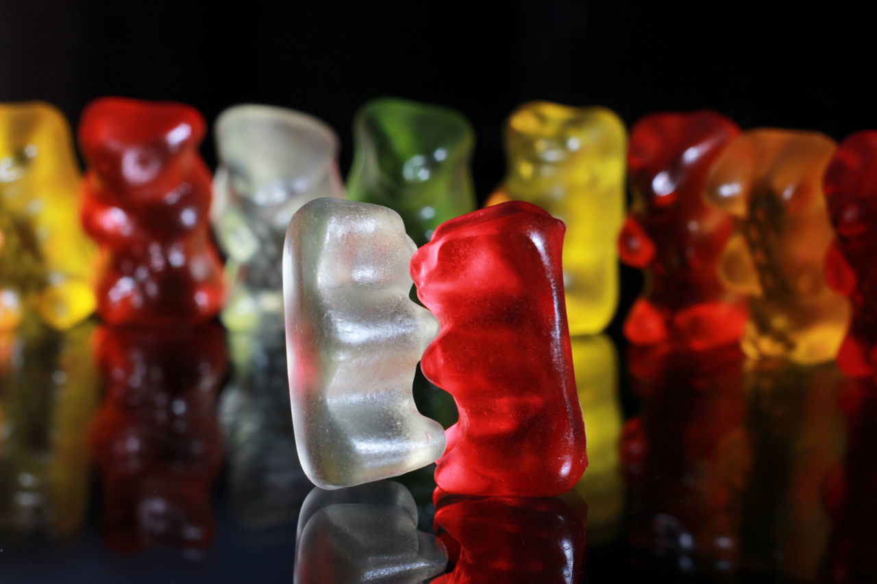 Gummy bears Bears Black Candy Close-up Food Food And Drink Freshness Gelatin Dessert Green Gummybears Indoors  Lowlight No People Opposite Red Reflection Shiny Sweet Yellow