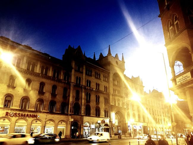 Lens Flare Night City Architecture Building Exterior Travel Destinations Budapest Love Budapest Hungary Building