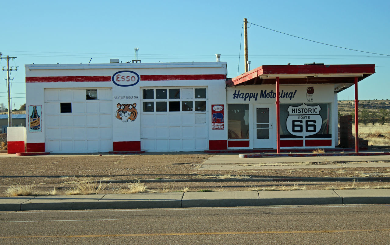 Route 66...New Mexico Architecture Auto Repair Shop Building Exterior City Day Gas Station New Mexico No People Outdoors Text