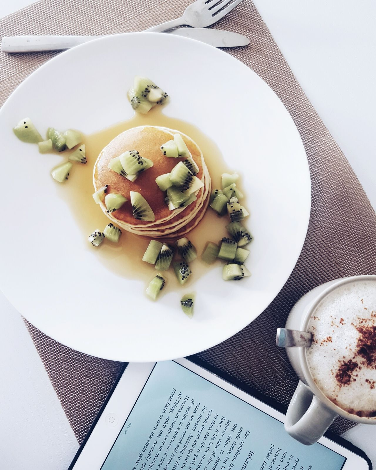 Pancakes Plate High Angle View Archival Indoors  Fork Ready-to-eat Food No People Day Coffee Healthy Lifestyle Healthy Eating Digital Tablet Wireless Technology Kiwifruit