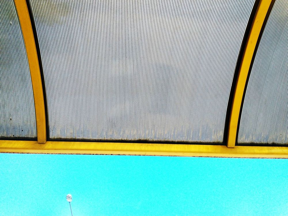 Day Built Structure No People Close-up Lantern Outdoors Outdoor Photography Sky Blue Sky Transparent Roof Transparent Roof EyeEmNewHere Eyeem Market Yellow Color Yellow Metal Yellow Metal Structure Outdoor BYOPaper!