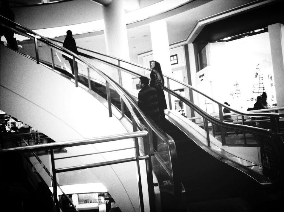 Escalator Blackandwhite Rolltreppe