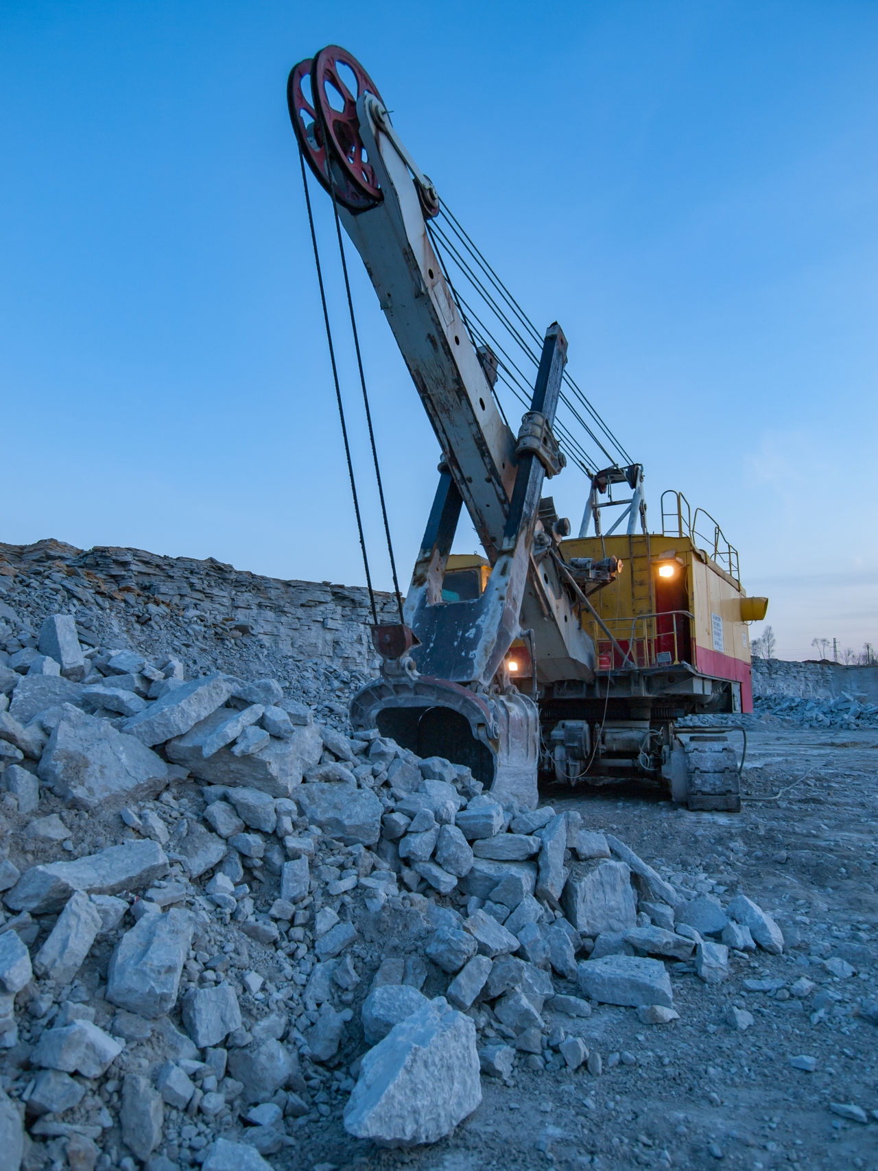 Business Finance And Industry Equipment Equipments Evening Excavator Industry Landscape Limestone No People Outdoors Quarry Quarry Rock Rock - Object