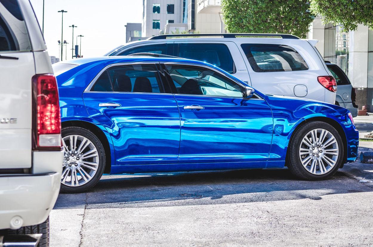 300C Automotive Photography Blue Car Chrome City Crysler