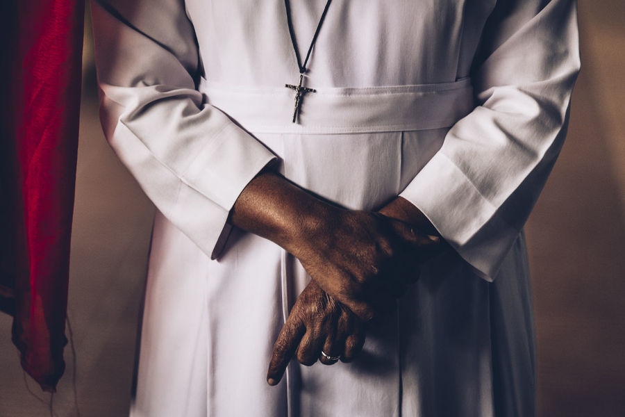Church Close-up Clothing Color Colors Hand Hands India Indoors  Nun Person Religion
