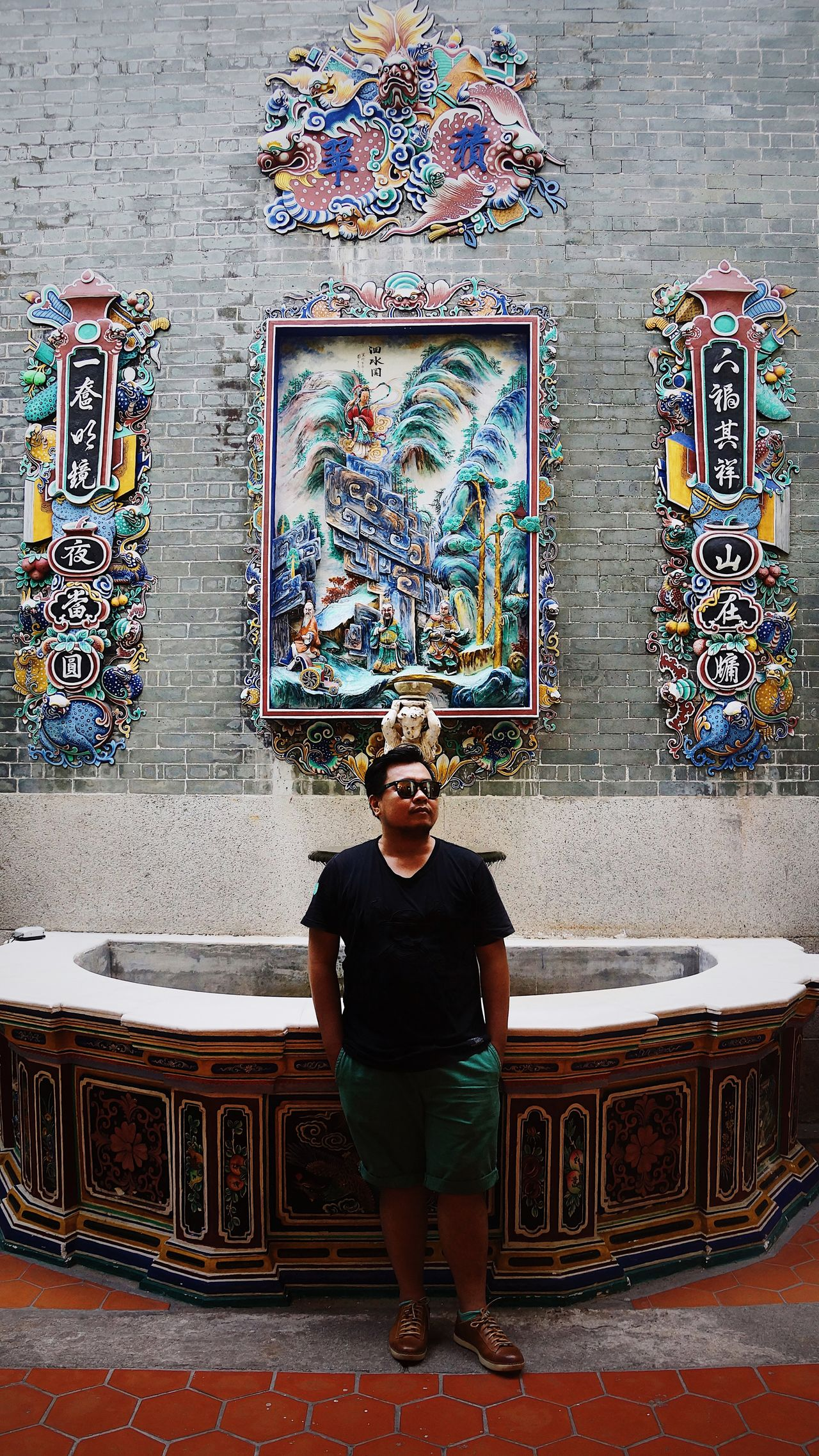 how in-detail and minimalistic combined Georgetown Penang Penang Pinang Peranakan Mansion Architecture Built Structure Day Front View Full Length Indoors  Leisure Activity Lifestyles Malaysia One Person People Real People Standing Statue Young Adult