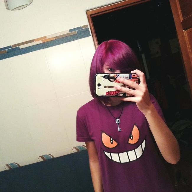 I'd never post my profile's picture so... here it is. Me Gengar Pokémon Purple Hair Purple World Keyblade Kingdom Hearts Love My Hair Color