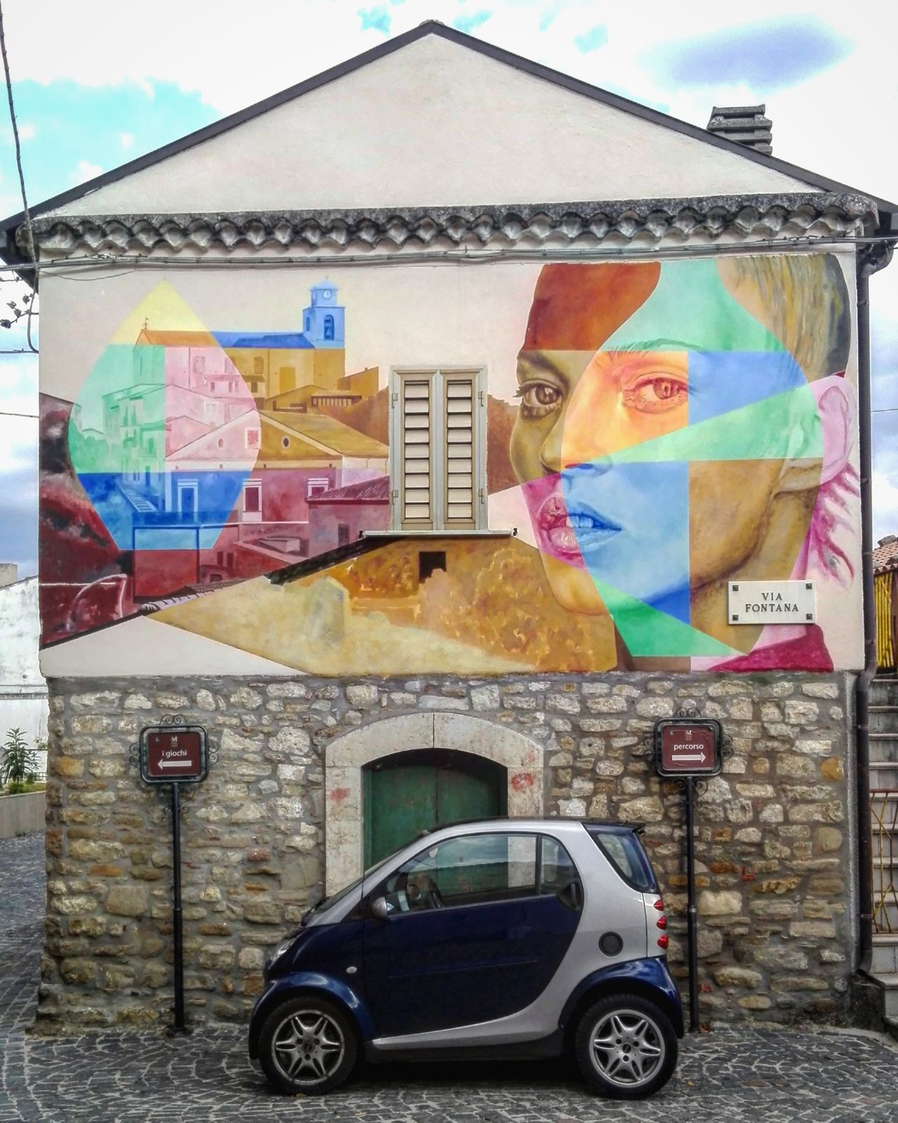 Car Multi Colored Smart Architecture Wall Graffiti Wall Decoration Graffiti Building Exterior Art Museo All'aperto Museum Open Museum Stone Material Stone Stone Architecture Casalciprano Molise Italy Village Borgo Antico Italia Borgo Street Art Kate Moss