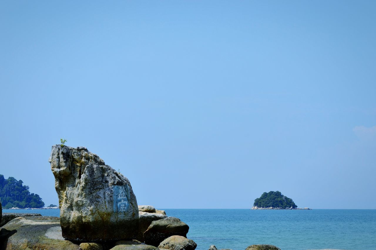 Sea Rock - Object Beach No People Beauty In Nature Nature Outdoors Blue Clear Sky Sky Beauty In Nature Teluk Cempedak Pahang, Malaysia