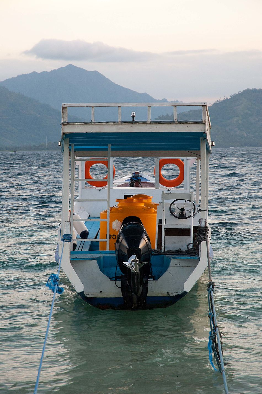 Blue Boat Centered Composition Colourscheme Heck Islandlife Orange Color Safety Sea Seaside Vacation Wooden