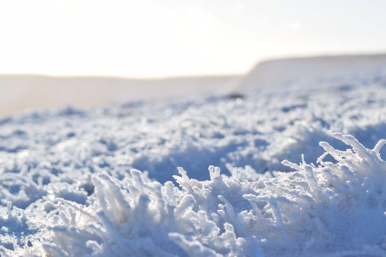 Snow Covered Landscape Against The Sky