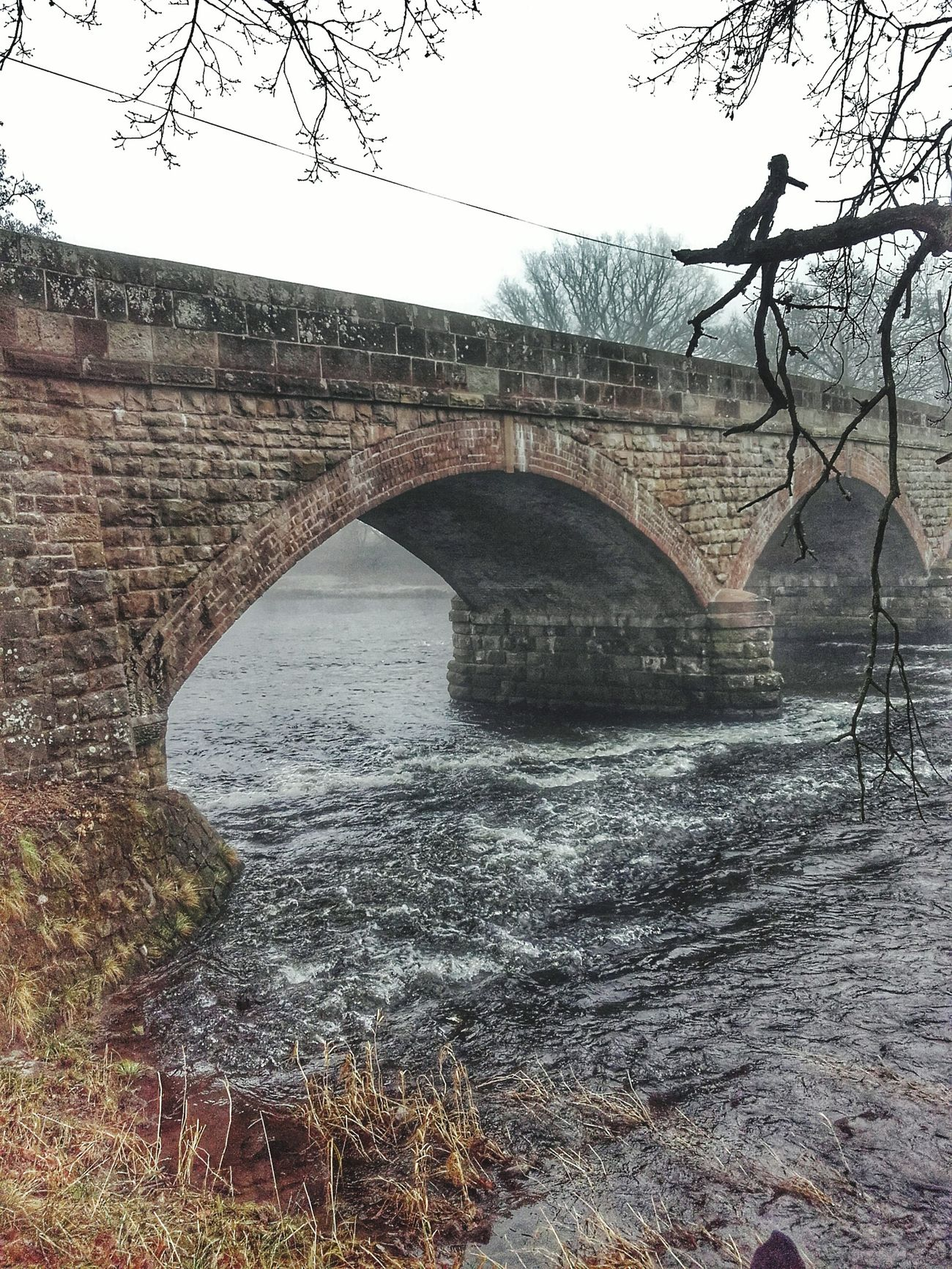 Bridge - Man Made Structure No People Foggy Day Water River Severn In Newtown, Winter 2016