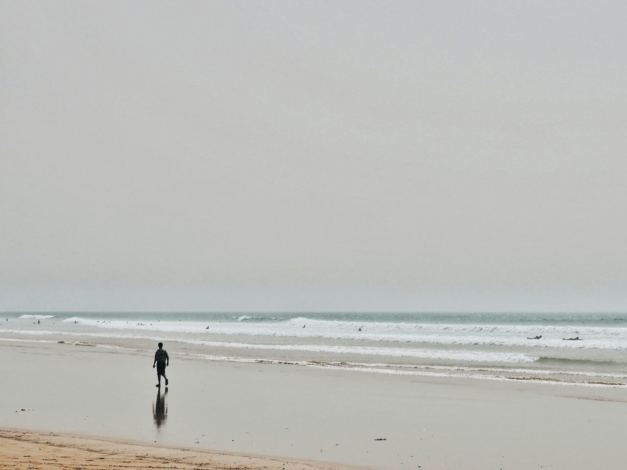 Beach Sea Horizon Over Water Sand Only Men Reflection_collection Reflection One Person Water Outdoors Adult People Scenics Nature Adults Only Day Vacations Wave One Man Only Beauty In Nature Nature Tranquility Morocco 🇲🇦 Morocco Silhouette