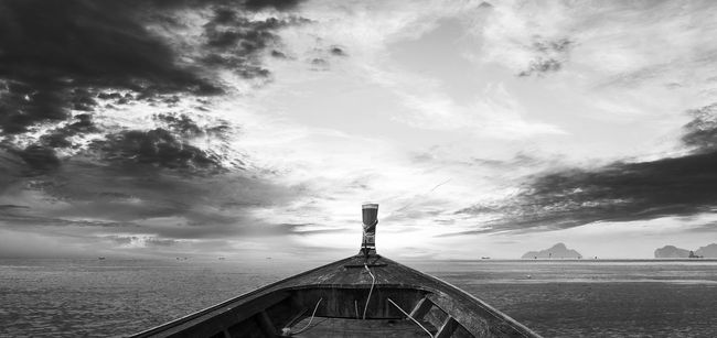 Beauty In Nature Black And White Photography Boat Cloud - Sky Cloudy Destination Phangnga Ocean View Outdoors Sea Transport Sky Strong Cloud Thailandtravel Tourism Transportation Travel Destinations Wood Boat Phang Nga