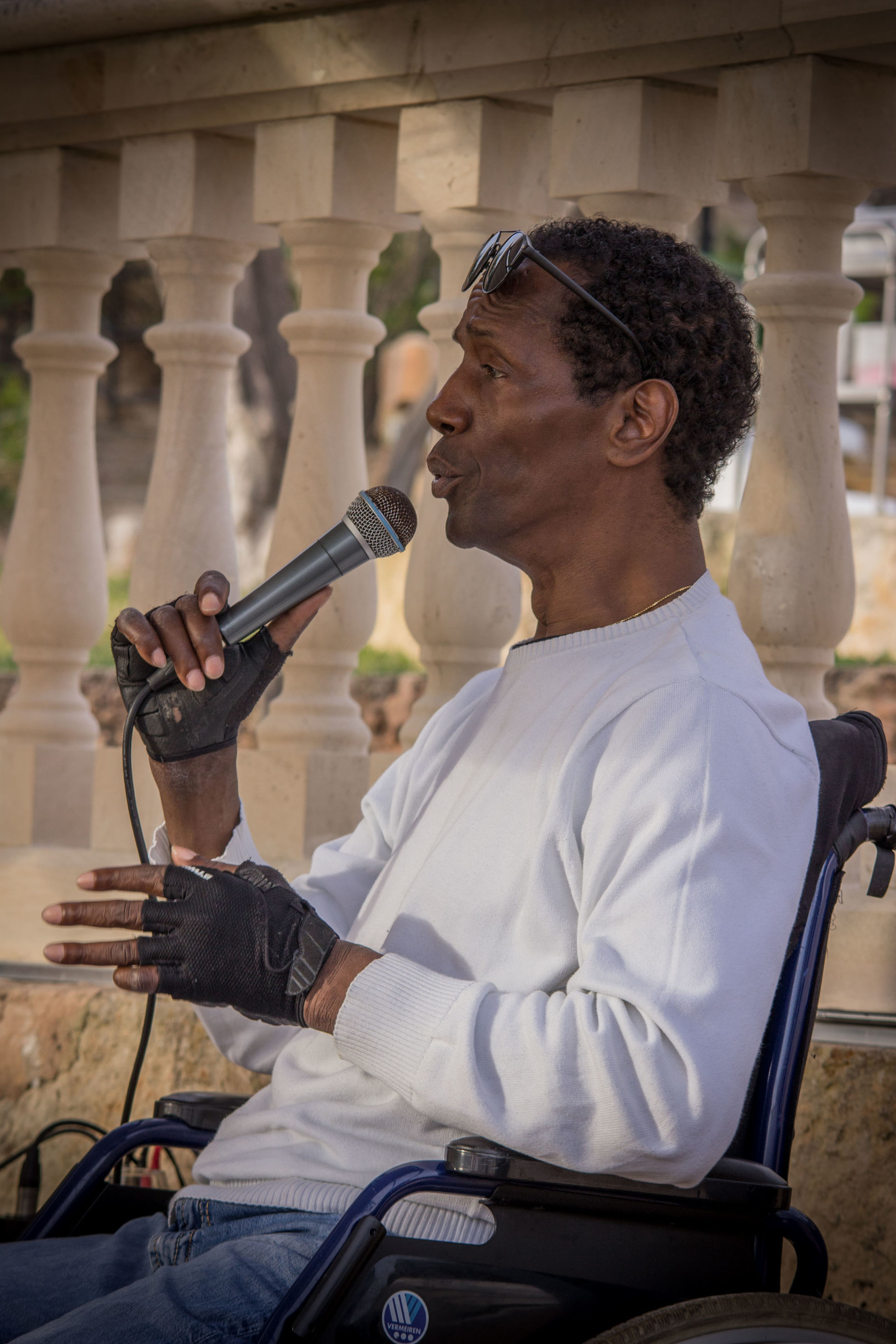 Black People Charles Role Concert Live Live Music Mallorca Musician One Person Peguera People Real People Singer  Sitting Wheelchair The Portraitist - 2017 EyeEm Awards
