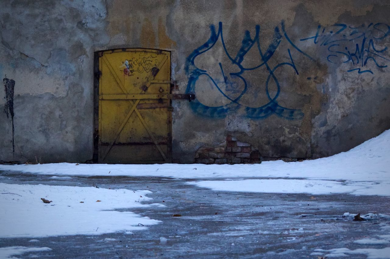 Snow Winter Cold Temperature No People Abandoned Destruction Outdoors Day Architecture Graffiti Door Wall Gorzów Wielkopolski Poland