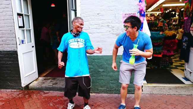 Grooving with an older gentleman as we were strolling down Bourbon St. NOLAPeople Together Dancing Two Is Better Than One Dancing In The Street Spontaneous Everyone Speaks Dance Strangers Bourbon Street Hand Grenade Funk
