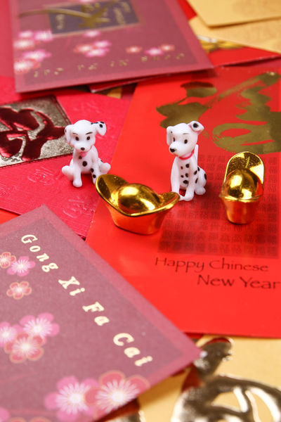 Miniature dogs with chinese new year decorations for year 2018 2018 Dogs Gold Angpow Astrology Calendar Chinese New Year Decorations Envelopes Ingots Packets Zodiac