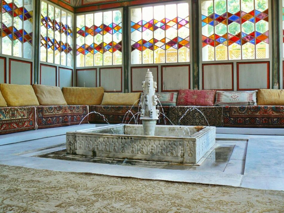 Summer pavilion in the Khan palace. My first memory of the palace when I saw it at the age of 5. Since then I always return there to listen to the sound of water in this fountain and look at roses floating there. Fountain Crimea Palace Bakhchysarai