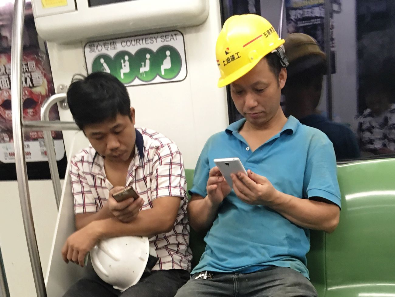 Shanghai metro Communication Real People Leisure Activity Two People Lifestyles Men Day Outdoors Adult People Mobile Conversations Technology Shanghai People Photography People Watching People And Places Transportation Vehicle Train Commuting My Daily Commute