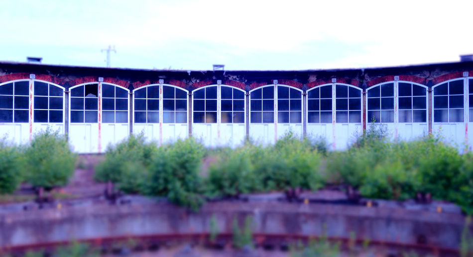 Abondoned Abondoned Places Architecture Built Structure Cloud - Sky Doors Engine Shed Fenster Forgotten Forgotten Places  Green Color Hall Halle  Lokschuppen Multi Colored No People Plant Schuppen Shed Side By Side Sky Tilt-shift Tranquility Türen Windows