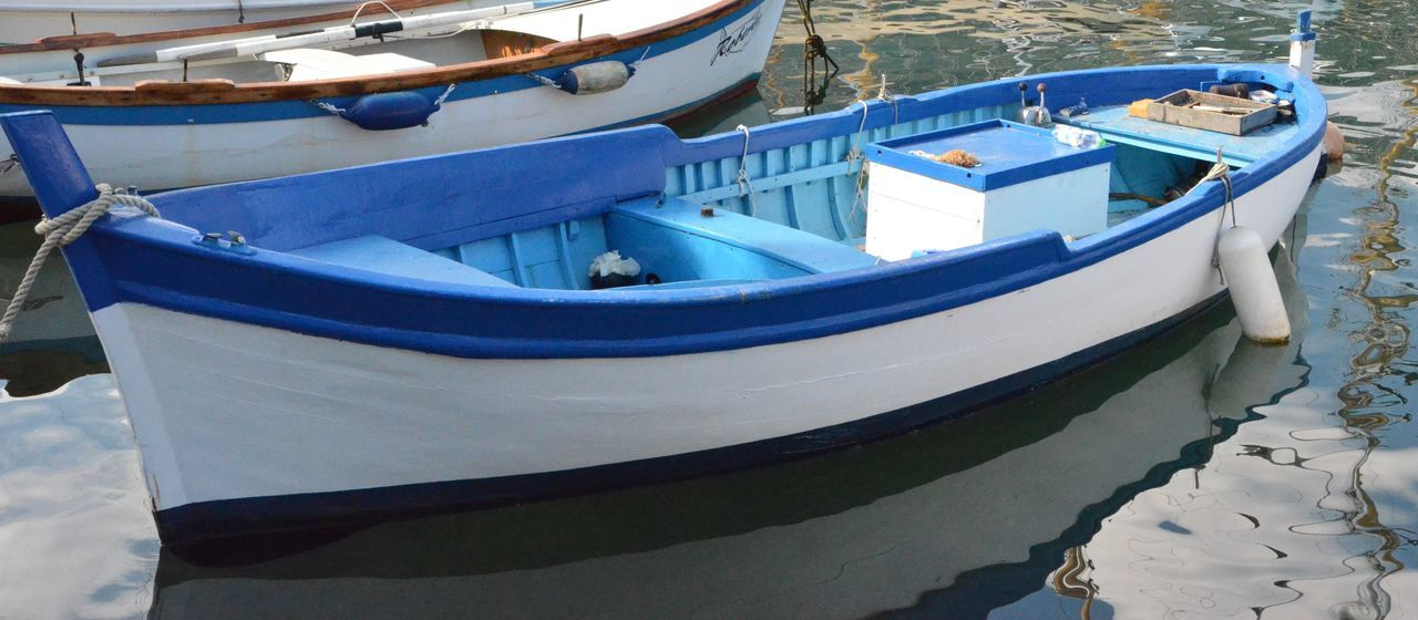 Boat Fishing Boat Nautical Vessel No People Old Boat Outdoors Water White And Blue Colour
