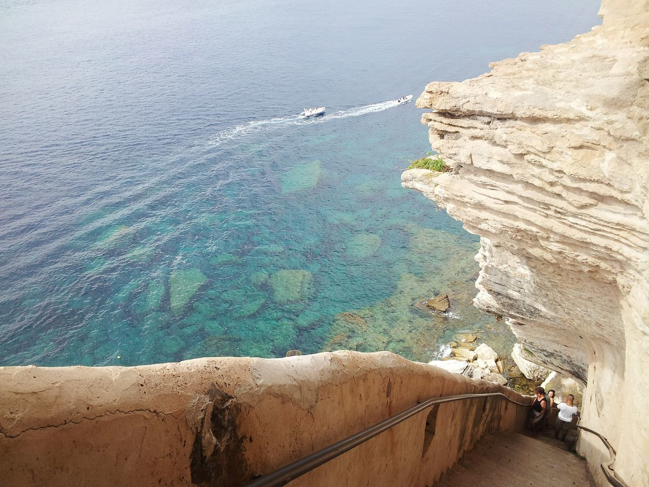 Sea Water Outdoors Tranquility Nature Solitude Remote Beauty In Nature Summer Scenics Bonifacio Amazing Amazing View Blue Beauty In Nature Boat Panorma Landscape Corsica Corse High Angle View Escalier Du Roi D'aragone Stair Stairway Stairs