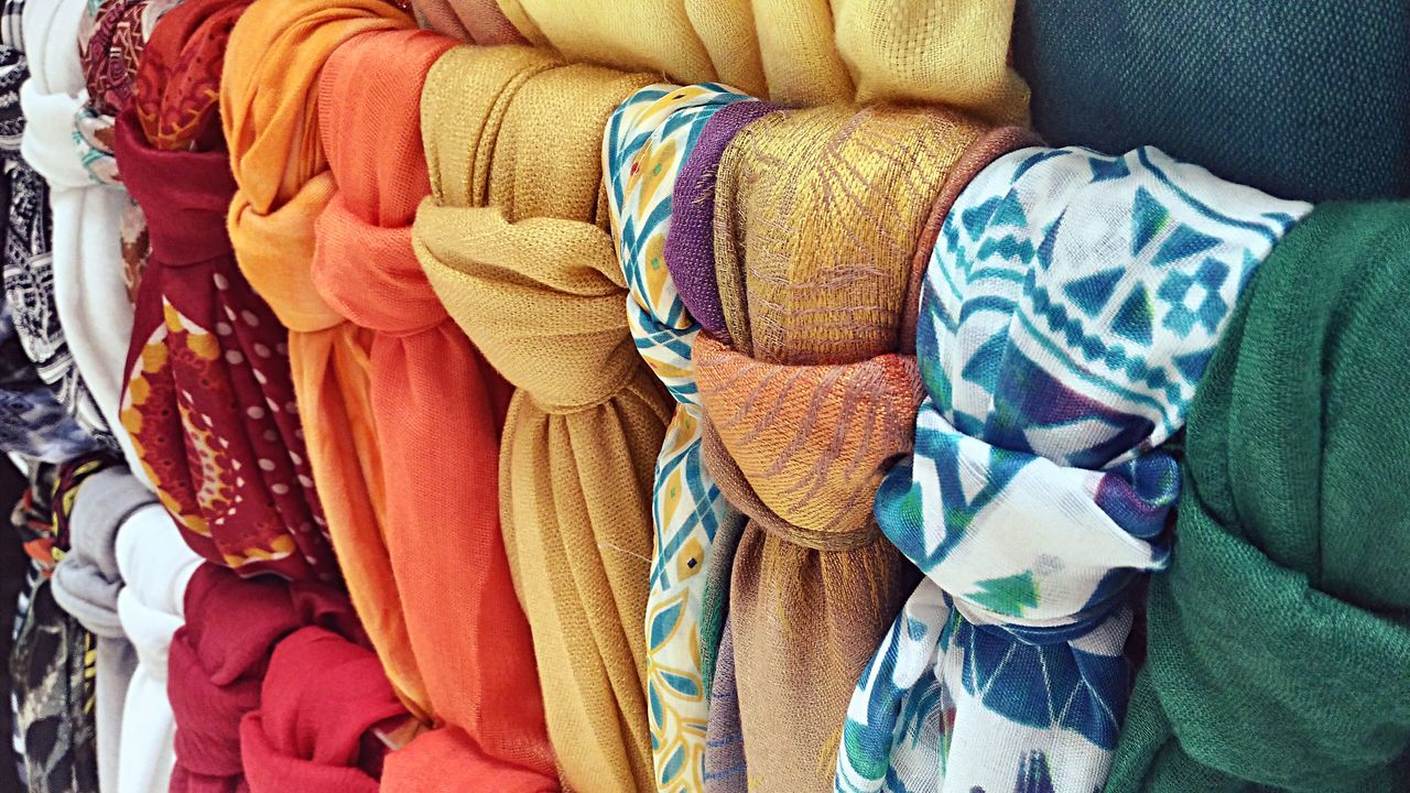 Full Frame Shot Of Colorful Scarfs For Sale In Store
