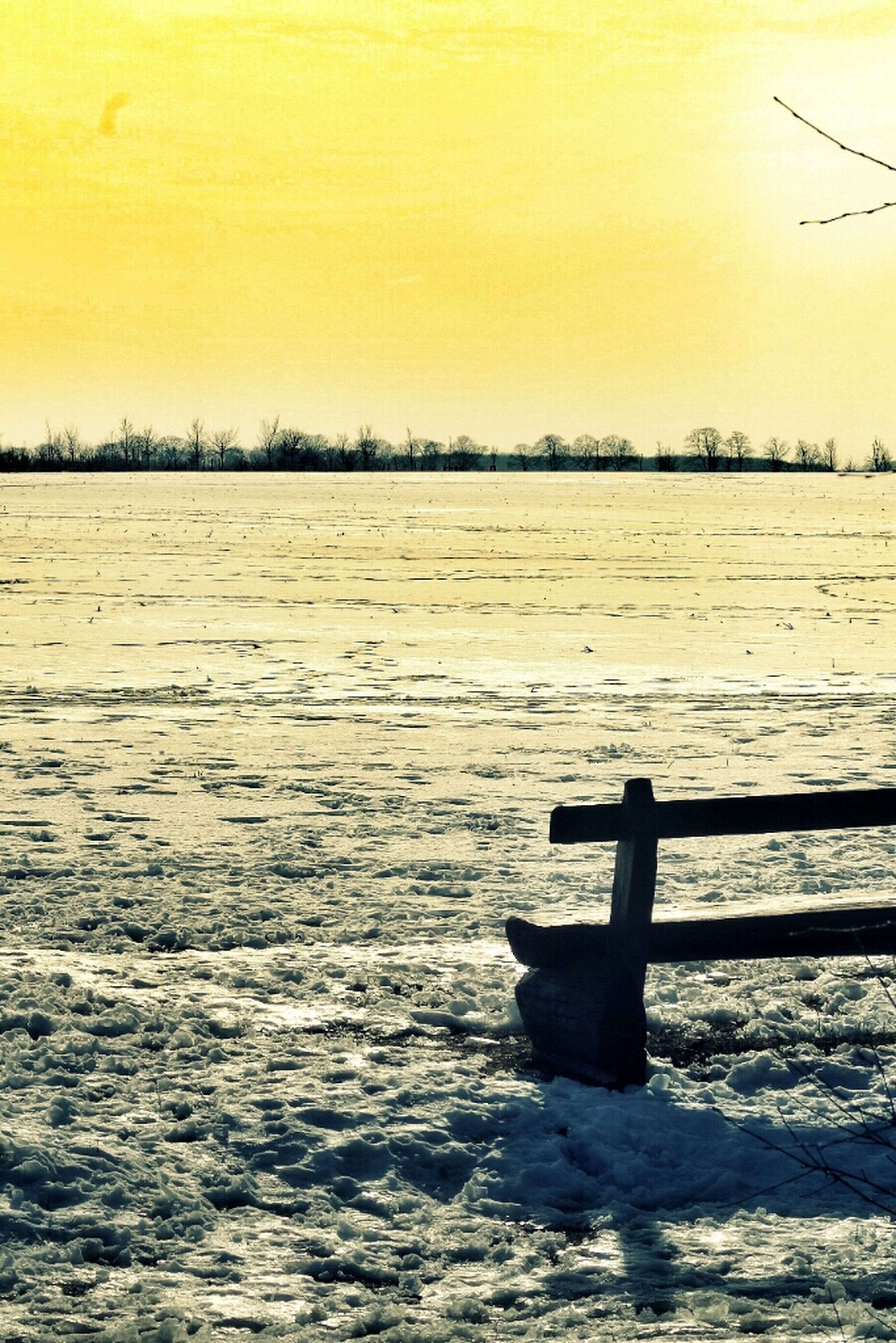 water, tranquil scene, waterfront, tranquility, scenics, bird, nature, beauty in nature, sunset, rippled, winter, cold temperature, lake, snow, sky, idyllic, landscape, outdoors, non-urban scene, no people
