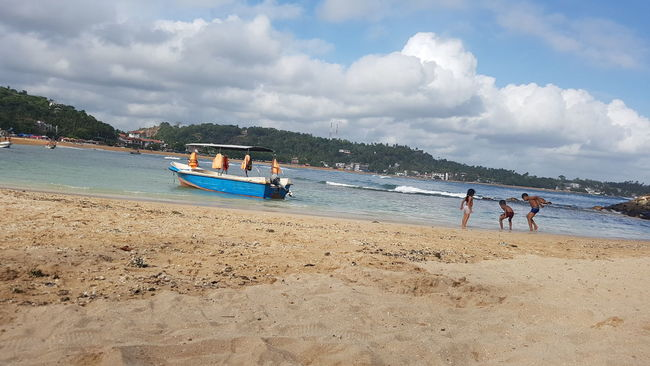 Unawatuna Boat Beach Nature Galle Sri Lanka Blue Sky Cloudy