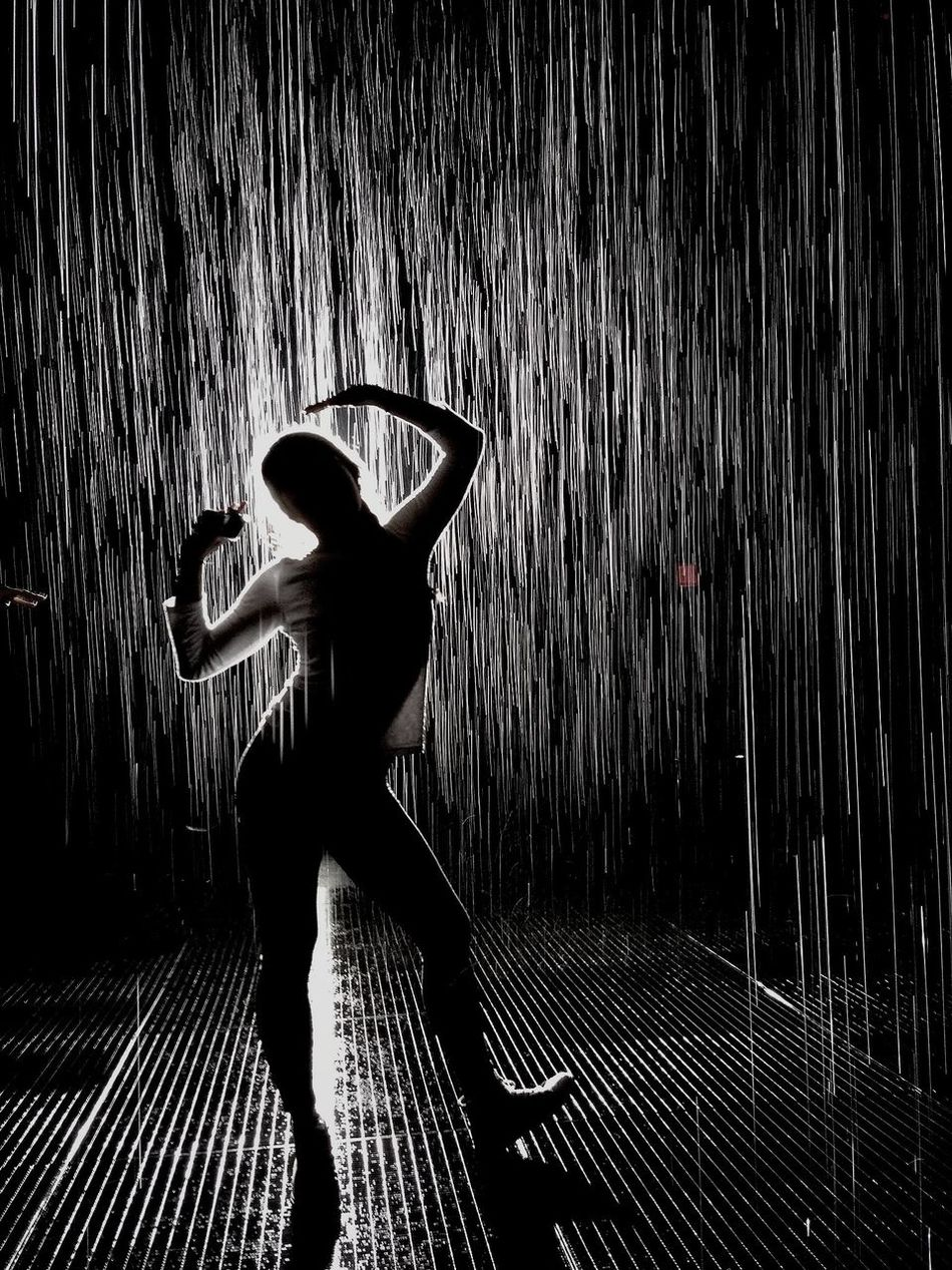 waited 8 hrs for the exhibit. adter seeing this pic it was worth it. Exhibition Art Random International's immersive environment Rain Room (2012), a major component of the MoMA PS1 exhibition EXPO 1: New York, is presented in the lot directly adjacent to The Museum of Modern Art. A field of falling water that pauses wherever a human body is detected, Rain Room offers visitors the experience of controlling the rain. Known for their distinctive approach to contemporary digital practice, Random International's experimental projects come alive through audience interaction—and Rain Room is their largest and most ambitious to date. The work invites visitors to explore the roles that science, technology, and human ingenuity can play in stabilizing our environment. Using digital technology, Rain Room creates a carefully choreographed downpour, simultaneously encouraging people to become performers on an unexpected stage and creating an intimate atmosphere of contemplation.