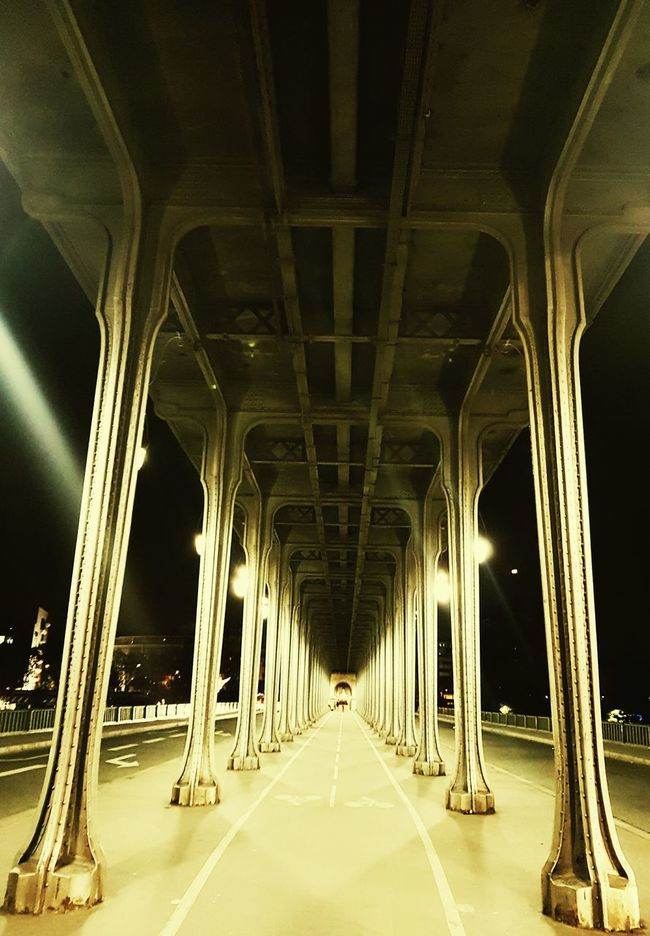Built Structure Bridge - Man Made Structure Architecture Illuminated The Way Forward Connection Transportation Diminishing Perspective In A Row Long Below Engineering Vanishing Point Surface Level Architectural Column Bridge Paris ❤ France 🇫🇷 Capital Cities  Battle Of The Cities People And Places. I Love My City Architecture Tall - High Tourism