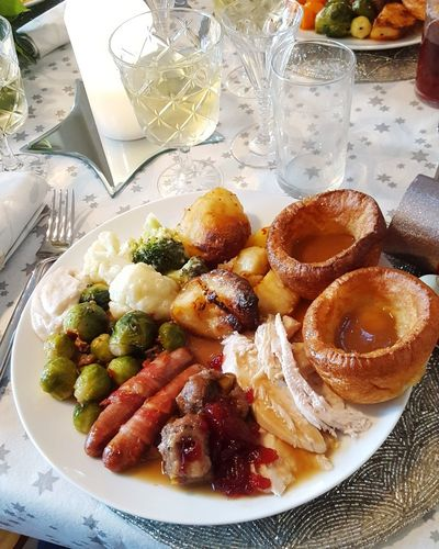 Christmas dinner. Christmas Dinner Christmas Lunch Yorkshire Pudding Christmastime Christmas Food And Drink Food Fruit Healthy Eating Freshness No People Indoors  Ready-to-eat Plate