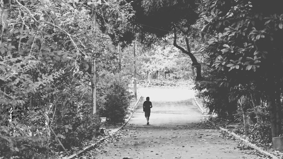 Bnw Bw Calm Day Find Me On Path Full Length Growth Monochrome Nature One Person Outdoors Path People Real People Rear View The Way Forward Tree Walking Way Way Of Life Yourself