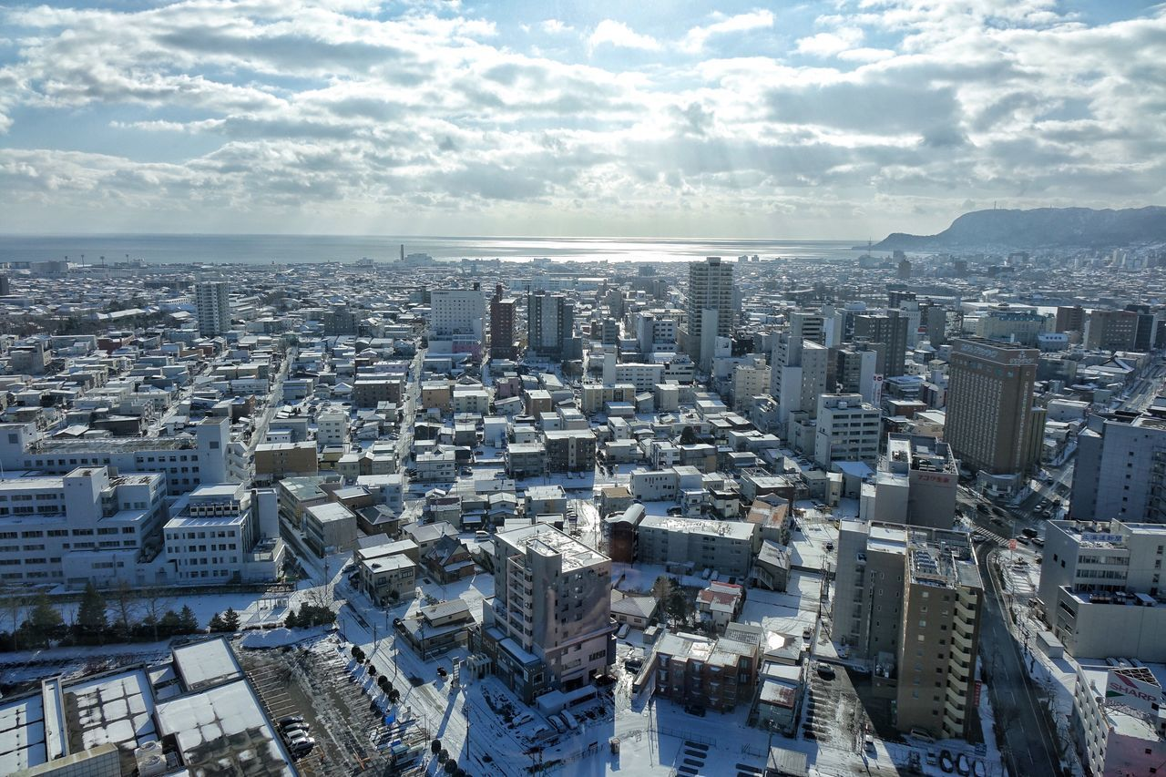 Hakodate Cityscape City Architecture Urban Skyline Sky Outdoors City Life Cloud - Sky Residential Building City Life Sunlight Architecture Cityscape City High Angle View Winter Cold Temperature Snow Built Structure