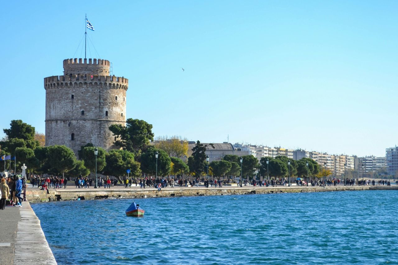 White tower Thessaloniki Salonicco Greece Grecia Ελλάδα Θεσσαλονίκη Whitetower Sea Wharf City Tower Water Outdoors