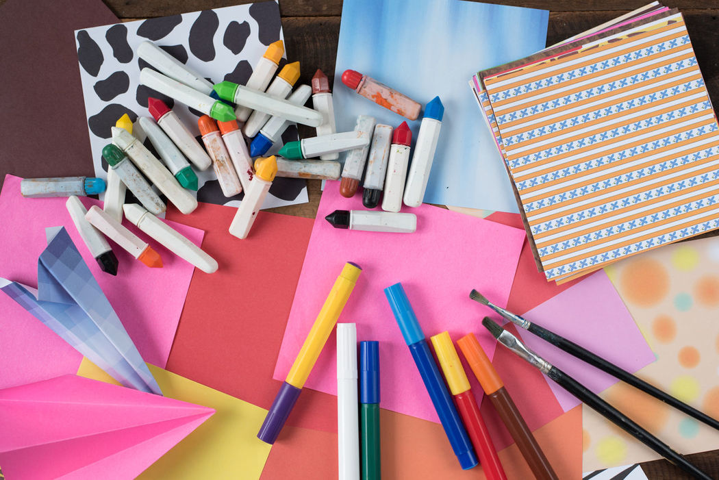 tools of creativity Crayons Creativity Imagination Paint Brush Art Colorful Concept Day Draw High Angle View Idea Indoors  Large Group Of Objects Marker Pen Month Multi Colored No People Origami Paper Table Talent Tools Variation Watercolor